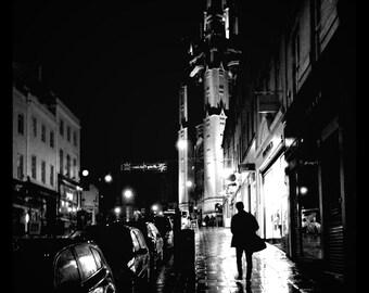 Black and White, Silhouette, Man, Park Street, Wills Memorial Building, Rain, Night Photography, Bristol, Fine Art Photograph, England,