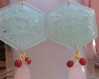 Earrings New Collection Geometric light Green Jade with Pink Quartz Briolettes