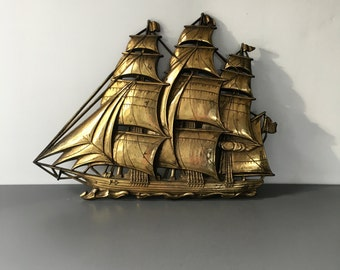 vintage Syroco gold Clipper ship wall decor schooner nautical