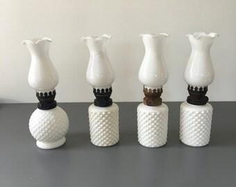 vintage mini oil lamps milk glass hobnail Night Lamps set of 4