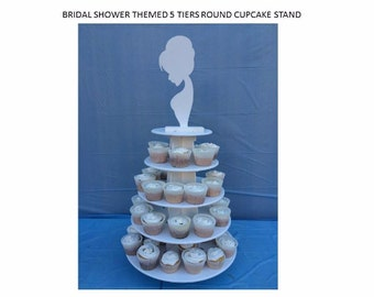 Bride themed 5 Tier stackable wood Cupcake stand