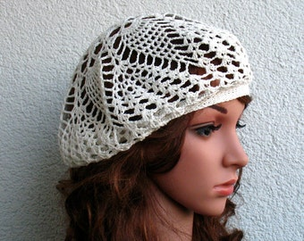 Crochet Summer beret Womens hat White Linen beret hat Women Summer hat Women linen Slouchy Beret Tam Hat White