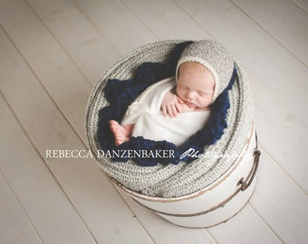 Eco Baby Bonnet - Newborn - Photo Prop - Marl Twist Undyed Alpaca
