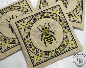 French Lavender Sachet - Honeybee Sachets - Home Fragrance - 3 Lavender Drawer Sachets - Victorian Style Embroidered Bee Sachets
