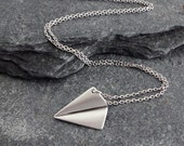 Silver Paper Airplane Necklace, Delicate Fine Silver Chain, Simple Modern Necklace