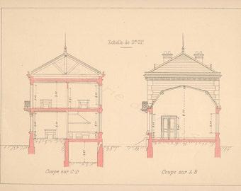 Vintage french artist studio, architecture -