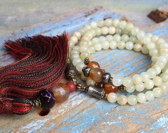 Beautiful jade gemstone mala necklace