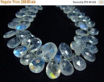"MEGA SALE 86 carat-Blue Fire Rainbow Moonstone Faceted Pear Briolettes- 7"" Strand- Stones measure-7x5-13x8mm"