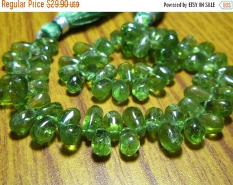 "MEGA SALE Green Apatite Smooth Tear Drops- 7"" Strand -Stones measure-6x4-9x5mm"