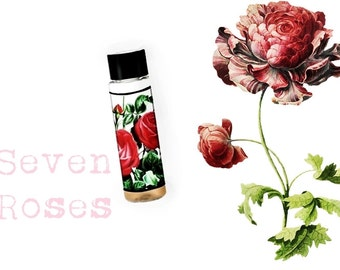 Pure Natural Perfume Oil sample, Botanical Perfume Seven Roses Floral Perfume with Woods and Faint Berries, Oud Agarwood