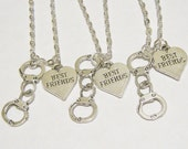 3 Partners In Crime Handcuff  Heart Best Friend Necklaces BFF SISTERS COUPLES