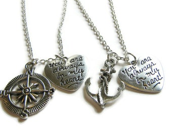 2 Anchor and Compass You Are Always In My Heart Best Friends Necklaces, Couples Necklaces, Sisters Necklaces, Anchor And Compass Necklaces
