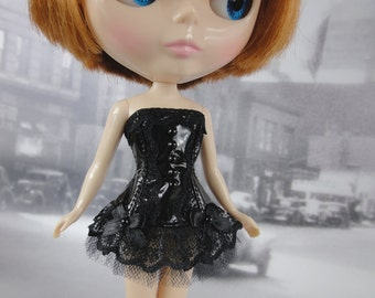 Gothic burlesque black corset hand made fits Blythe doll
