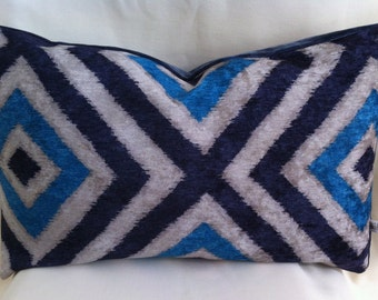 Single Lumbar Decorative Pillow Cover-Velvet Geometric  Design-Accent Pillow Cover-Free Shipping.