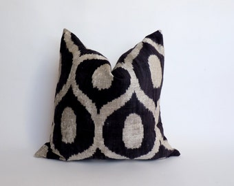 silk velvet pillow case // black velvet ikat pillow // silk velvet cushion