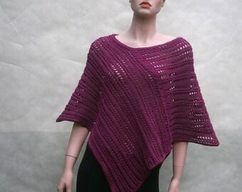 Solange III - beautiful, summer, spring, wine-colored universal handmade poncho