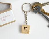Scrabble Inspired Letter Keyring, Personalised Initial Keychain, Wooden Keyring, Scrabble Inspired Gift, Valentines gift