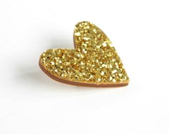 Gold Glitter Heart Pin, Glitter Heart Brooch, Wooden Love Heart Brooch Pin, Valentines Pin