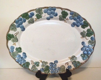 Metlox Sculptured Grape Pattern 14 Inch Platter