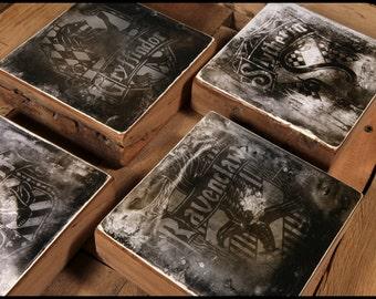 Harry Potter Houses Reclaimed Wood Block Series
