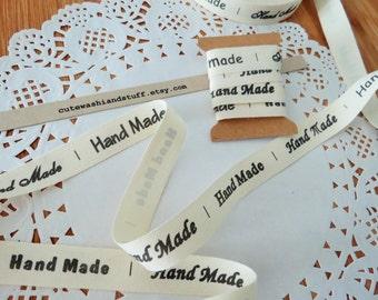 "Printed fabric ribbon handwritten ""Handmade"" width 1,5cm/ 1 mt"
