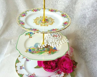 Vintage Wedding Decor MISMATCHED 3 Tiered Cake Stand/ Dessert  Tray/ Jewelry Stand /Three Tier /Vintage Plates/ ooak