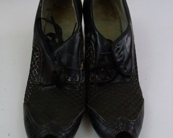 Vintage 30s 40s Black Leather Sheer Mesh Peep Toe Oxfords Heels Sz 6.5 AA