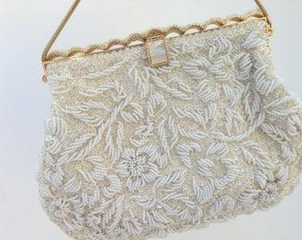 Vintage Ivory Pearl Beaded Evening Bag, Bridal Purse, Clutch, Bridal Clutch