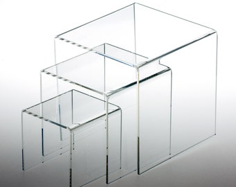Set of 3 Assorted Size Square Acrylic Clear Risers Display Stand 3 Inch 4 Inch 5 Inch Sizes IPYW034