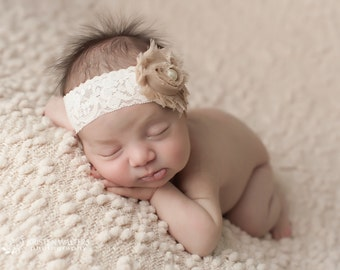FREE SHIPPING! Beige Headband, Shabby Chic Headbands, Beige Baby Headbands, Newborn Headbands, Photography Prop
