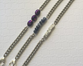 Beaded Silver Chain Bracelets. Marble Chain Bracelets. Crystal Chain Bracelets. Blue Sodalite Chain Bracelet.