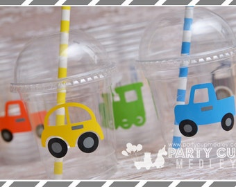 Trucks, Trains and Cars Birthday Party, Set of 8 or 12 You Choose Party Cups, Favor Cups or Reusable Souvenir Cup