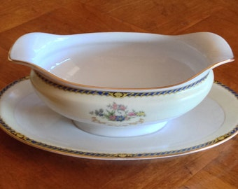 "Antique Noritake China ""Romance"" Pattern Blue and Yellow China Gravy Boat and Attached Underplate, Gold Trim China Gravy Server, Art Nouveau"