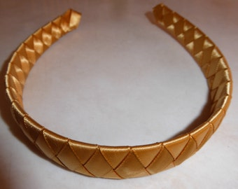 Gold satin pretty woven headband