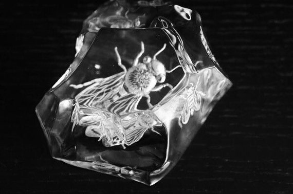 Hand Engraved  Val St. Lambert Belgium Crystal Iceberg Paperweight, Bees, office decor, engraved, engraving, paperweights, personalized