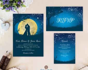 Exceptionnel Cheap Wedding Invitation Sets | Starry Night Wedding Invitations Printed |  Bride And Groom Wedding Invitation