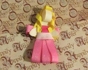 Pink Princess Ribbon Sculpture Alligator Clip
