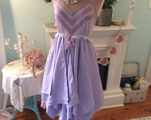 Upcycled Slip Dress Woodland Fairytale Lilac Fantasy Eco Friendly~ sale now 32.00!! Was 48.00!