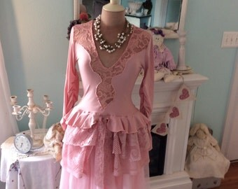 Romantic Steampunk Tunic Upcycled Marie Antoinette Fantasy Vintage Rose
