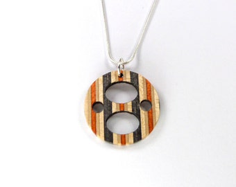 Wood Circle Necklace, Recycled Skateboard, Skateboard Art, Wooden Pendant, Awesome Design, Wood Circle, Wooden Necklace, Silver Chain