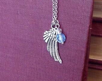Angel Wing in silver - with or without beads - Inspirational - Whimsical jewelry - gifts under 15 - gifts under 20 - Stardust Trinkets