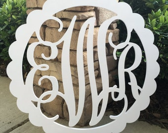 16 inch painted wooden monogram wooden initials wooden letters with scalloped border wood monogram wall hanging wall decor