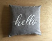 Hello 18x18 Grey Calligraphy Pillow Cover