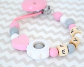 Baby pacifier clip, flower pacifier clip, pacifier holder, pink pacifier clip, baby girl pacifier clip,  pacifier holder, soothie clip,