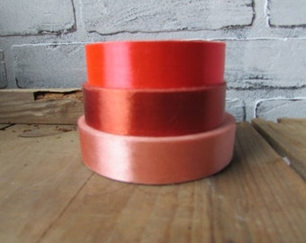 Roll of Ribbon Vintage Peach Tangerine and Rust  Choose ONE Roll