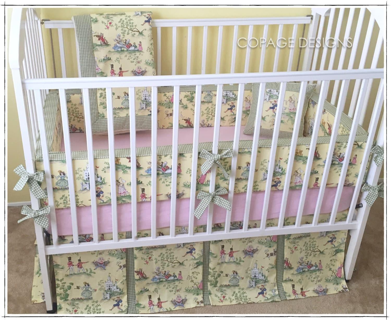 Yellow Over The Moon Toile Baby Girl Crib Bedding Set