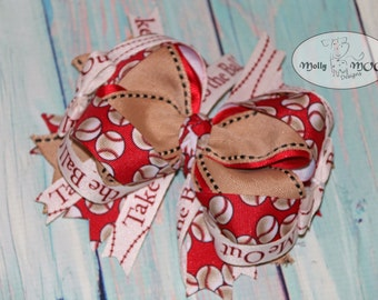 Take me out to the Ball Game Baseball 6 inch Hairbow