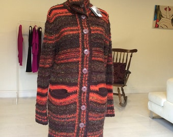 New Old Stock Japanese Multicolored  Long Cardigan Coat with Pockets.