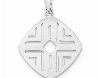Sterling Silver Rhod-pltd Sand Matte Square Cutout Pendant