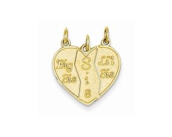14k Gold 3 piece Break-apart Big Sis, Sis & Lil Sis Charm